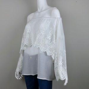 Stitch Fix {Crescent} Embroidered Lace Boho Blouse